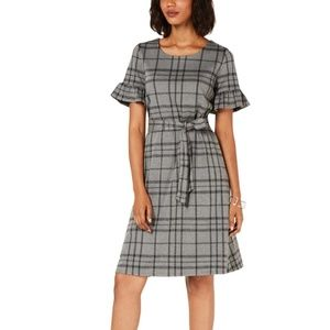 NY Collection Petite Plaid Tie-Waist Dress Grey